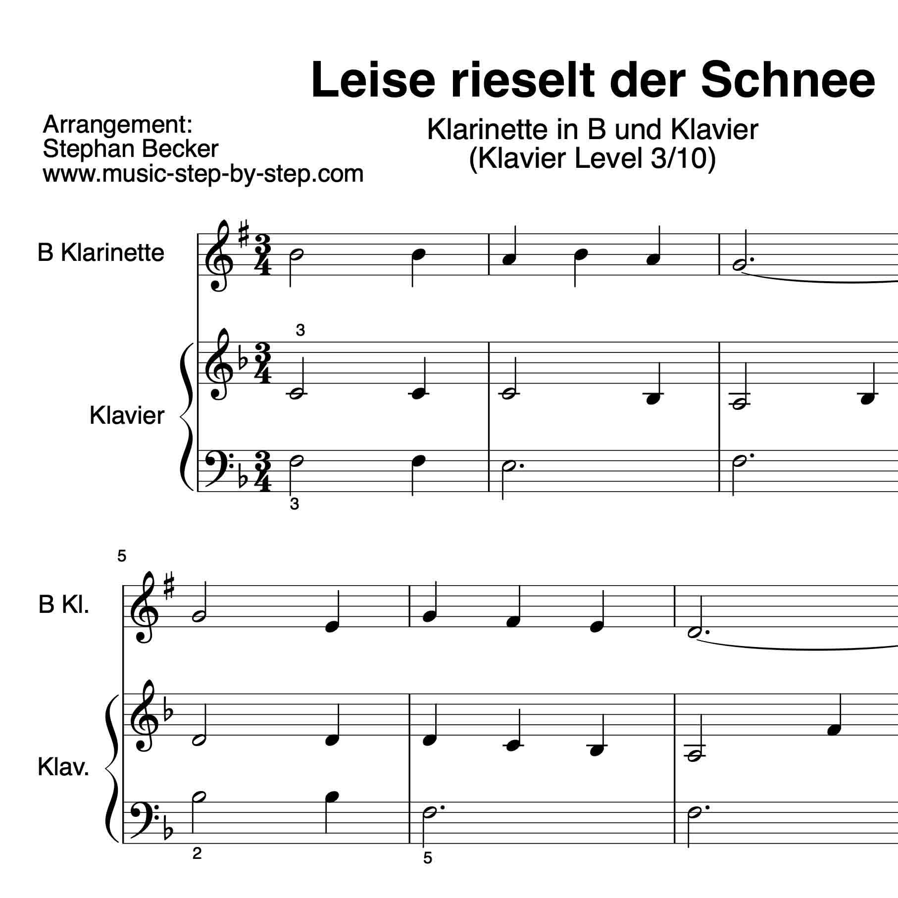 """Leise rieselt der Schnee"""" für Klarinette in B (Klavierbegleitung ..."""