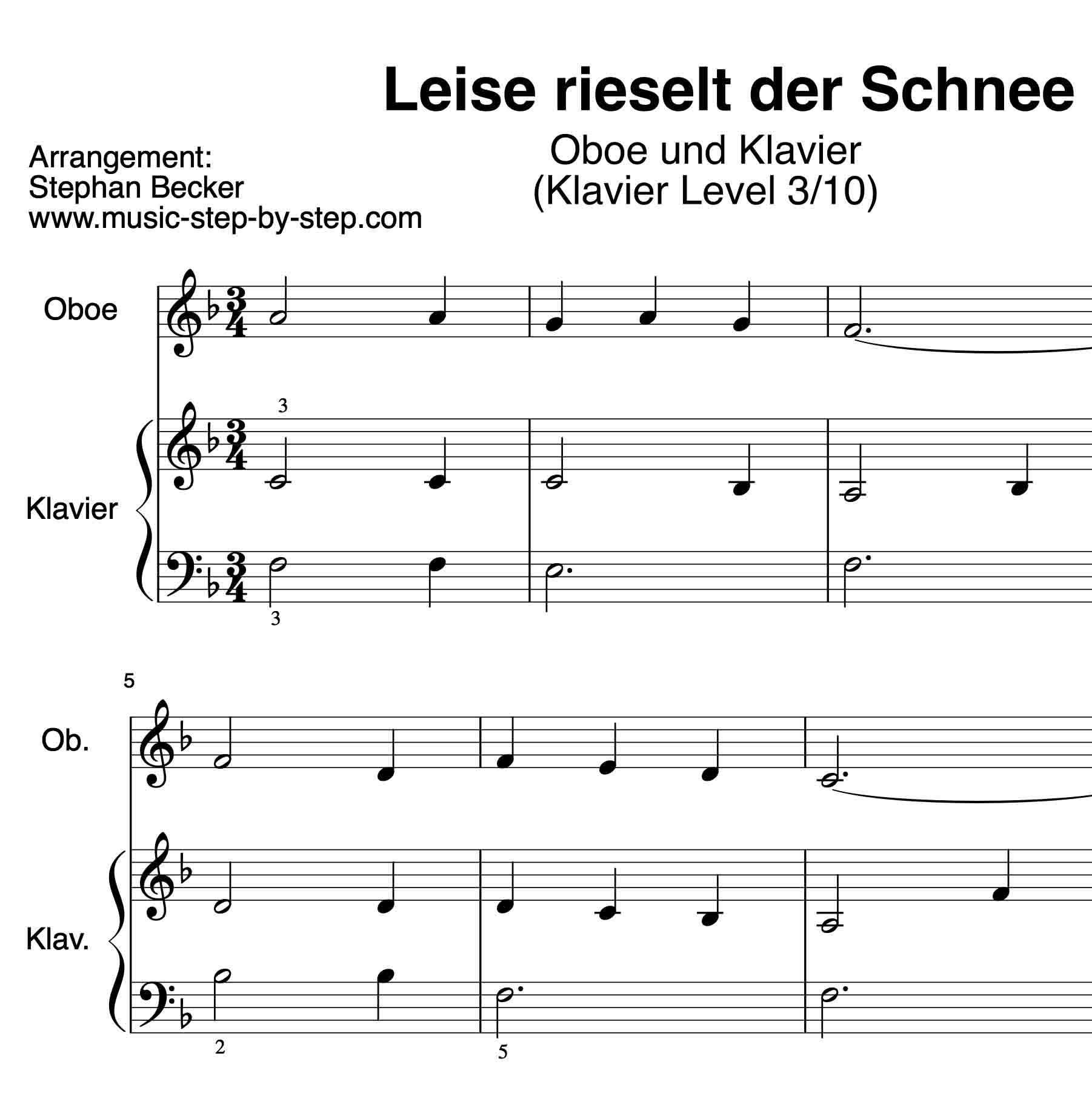 """Leise rieselt der Schnee"""" für Oboe (Klavierbegleitung Level 3/10 ..."""