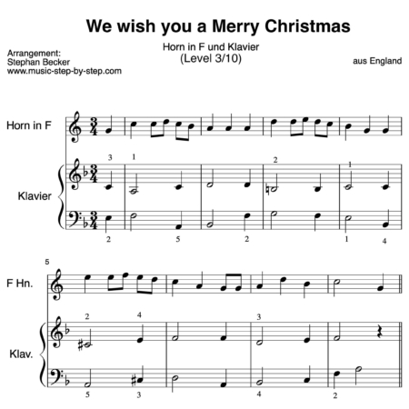 We wish you a Merry Christmas für Horn in F und Klavier