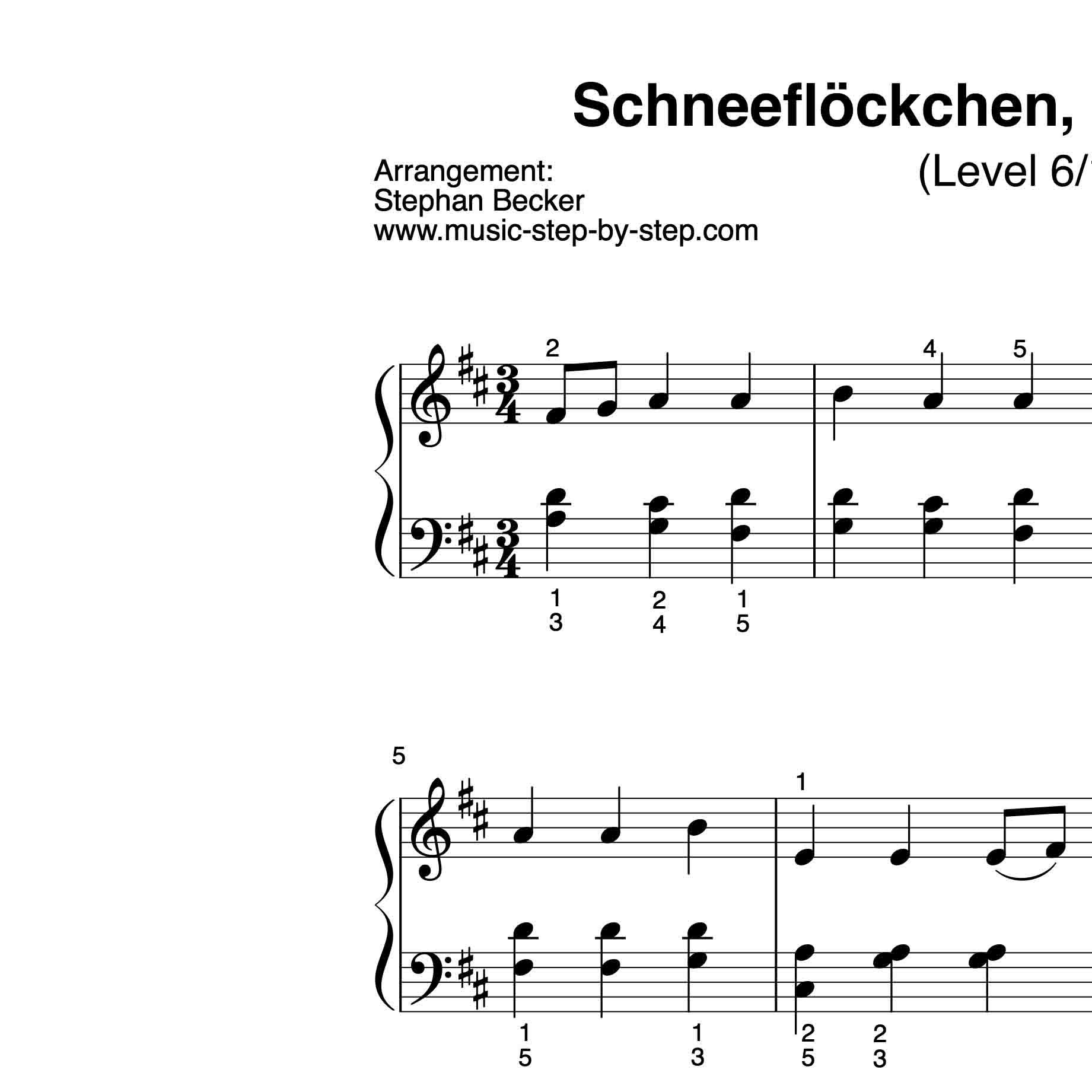 Schneeflöckchen Weißröckchen Für Klavier Mit Aufnahme