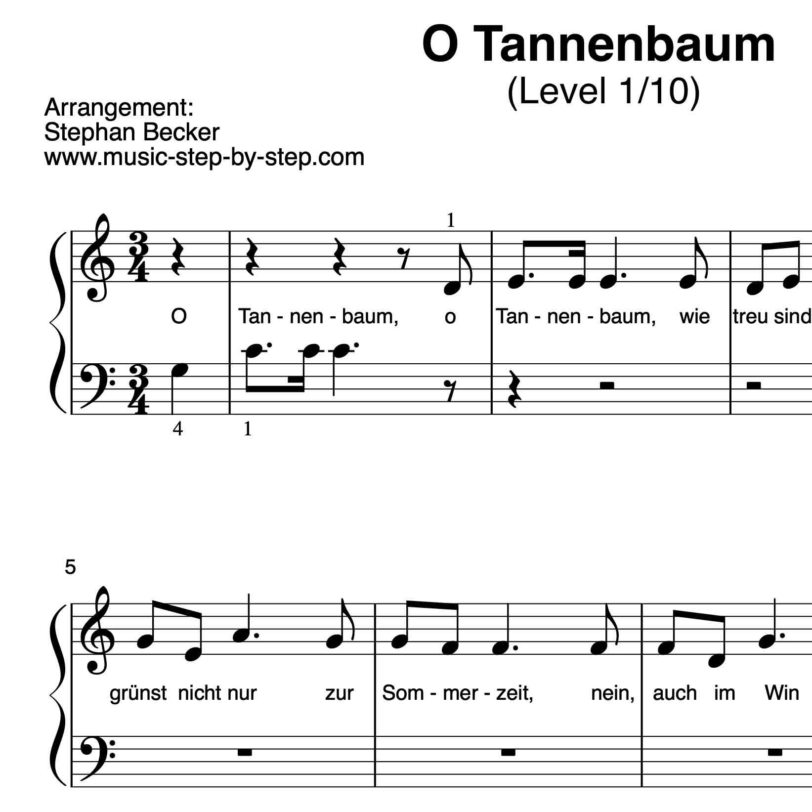 Noten Oh Tannenbaum.O Tannenbaum Für Klavier Level 1 10 Inkl Aufnahme Und Text