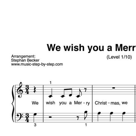 """""""We wish you a Merry Christmas"""" für Klavier (Level 1/10) 