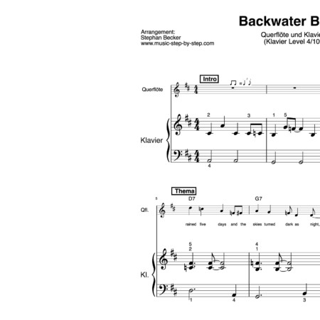 """Backwater Blues"" für Querflöte (Klavierbegleitung Level 4/10) 