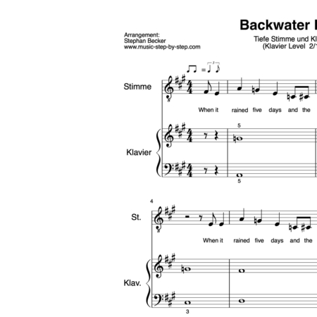 """Backwater Blues"" für tiefe Stimme (Klavierbegleitung Level 2/10) 
