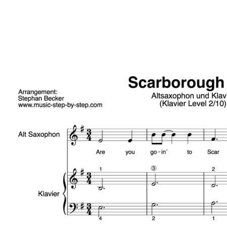 """Scarborough Fair"" für Altsaxophon (Klavierbegleitung Level 2/10) 