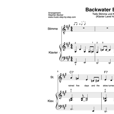 """""""Backwater Blues"""" für tiefe Stimme (Klavierbegleitung Level 4/10) 