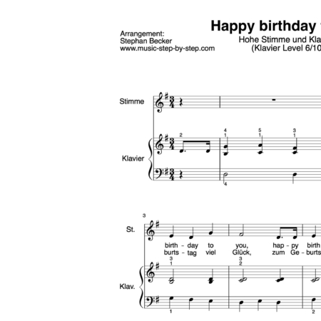 """Happy birthday to you"" für hohe Stimme (Klavierbegleitung Level 6/10) 