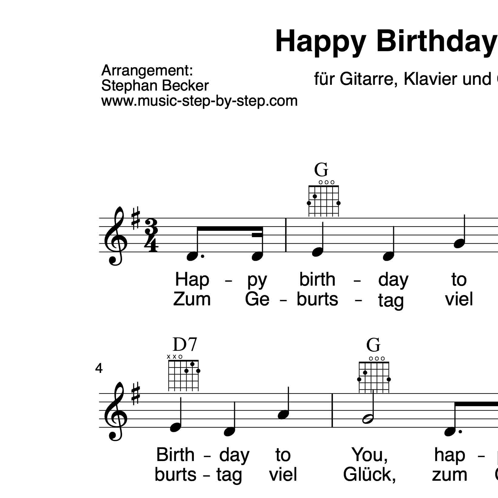 Happy Birthday To You Begleitakkorde Fur Gitarre Klavier Und Gesang Leadsheet