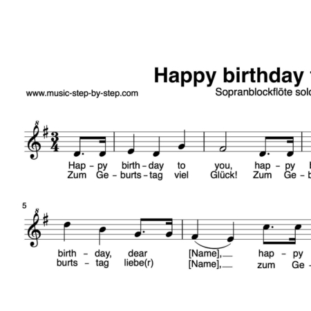 """Happy birthday to you"" für Sopranblockflöte solo 