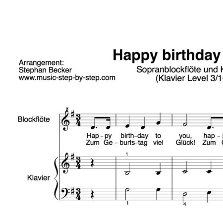 """Happy birthday to you"" für Sopranblockflöte (Klavierbegleitung Level 3/10) 