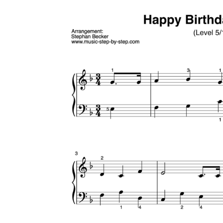 """Happy birthday to you"" für Klavier (Level 5/10) 