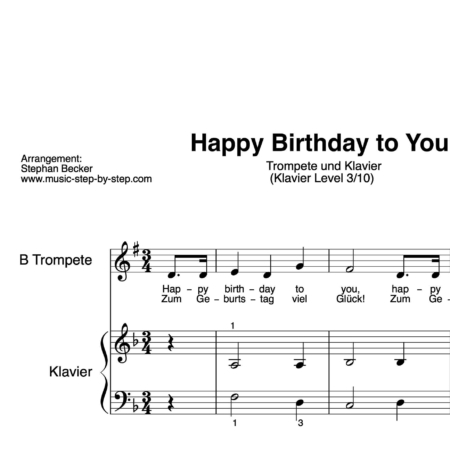 """Happy birthday to you"" für Trompete (Klavierbegleitung Level 3/10) 