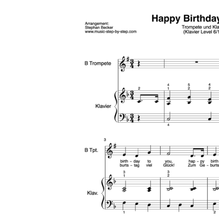 """Happy birthday to you"" für Trompete (Klavierbegleitung Level 6/10) 