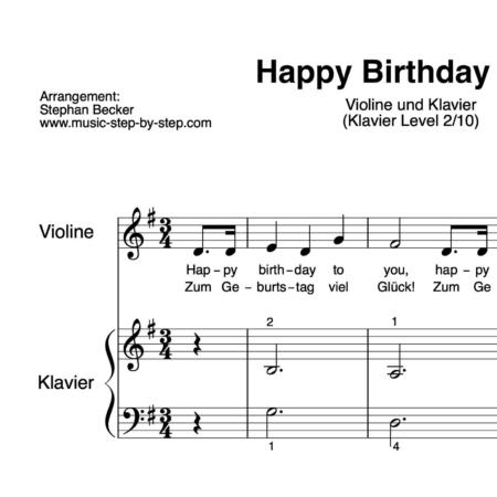 """Happy Birthday to You"" für Violine (Klavierbegleitung Level 2/10) | inkl. Aufnahme, Text und Playalong by music-step-by-step"