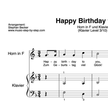 """Happy Birthday to You"" für Horn in F (Klavierbegleitung Level 3/10) 
