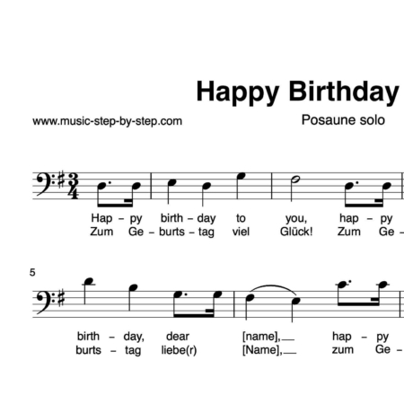 """Happy birthday to You"" für Posaune solo 