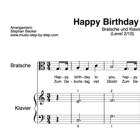 """Happy Birthday to You"" für Bratsche (Klavierbegleitung Level 2/10) 