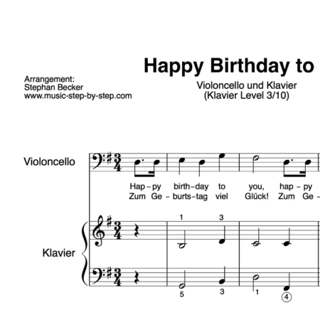 """Happy Birthday to You"" für Cello (Klavierbegleitung Level 3/10) 