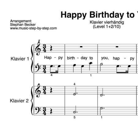 """Happy Birthday to You"" für Klavier vierhändig (Level 1+2/10) 