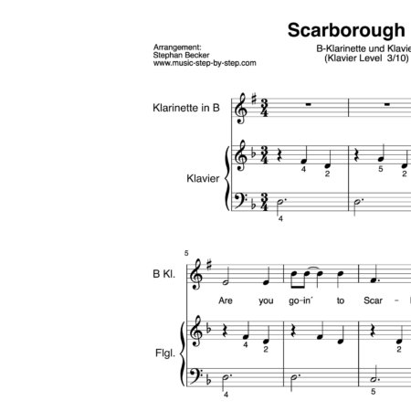 """Scarborough Fair"" für Klarinette in B (Klavierbegleitung Level 3/10) 