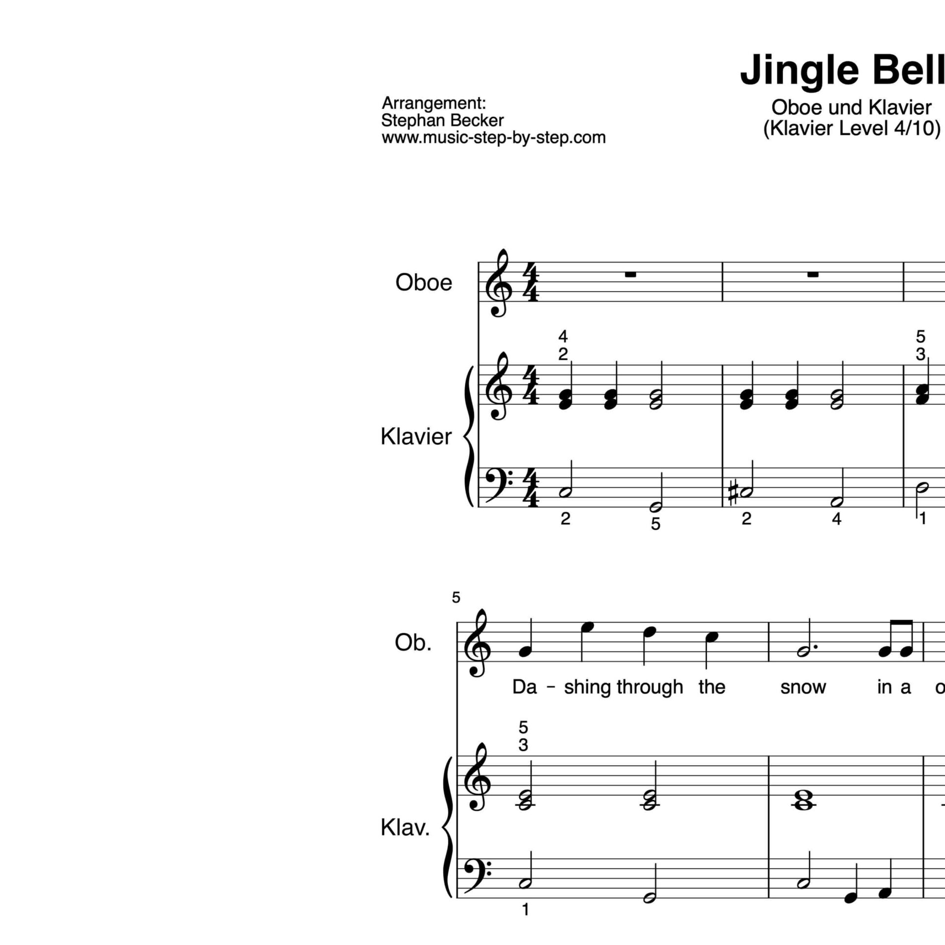 """jingle bells"" für oboe klavierbegleitung level 410"
