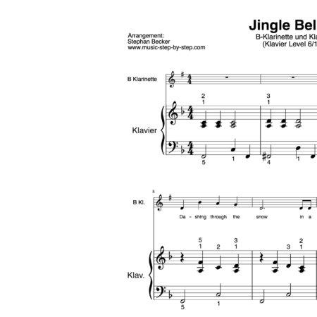 """""""Jingle Bells"""" für Klarinette in B (Klavierbegleitung Level 6/10)   inkl. Aufnahme, Text und Begleitaufnahme by music-step-by-step"""