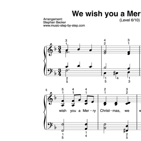 """""""We wish you a Merry Christmas"""" für Klavier (Level 6/10) 
