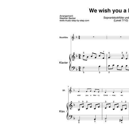 """We wish you a Merry Christmas"" für Sopranblockflöte (Klavierbegleitung Level 7/10) 