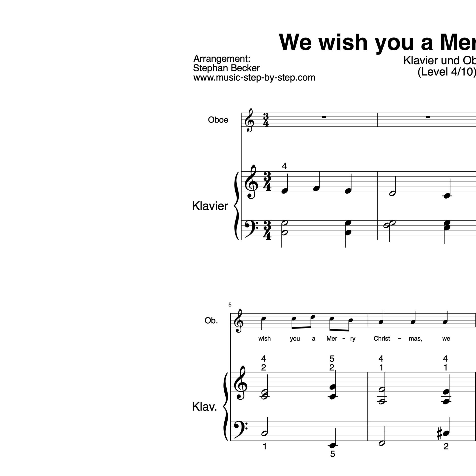 """""""we wish you a merry christmas"""" für oboe"""