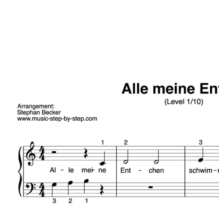 """""""Alle meine Entchen"""" für Klavier (Level 1/10)   inkl. Aufnahme und Text by music-step-by-step"""