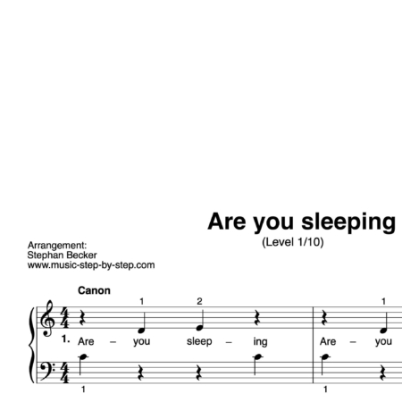 """Are you sleeping"" für Klavier (Level 1/10) 