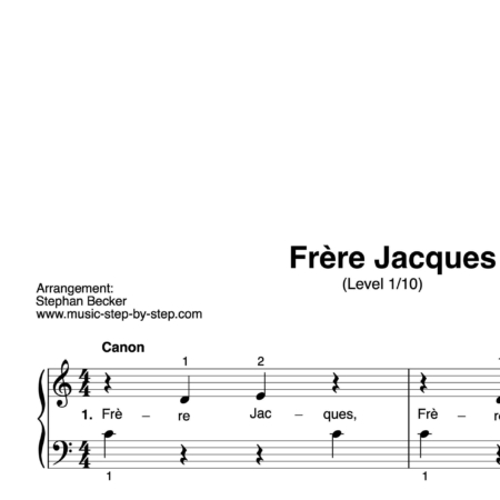 """Frère Jacques"" für Klavier (Level 1/10) 