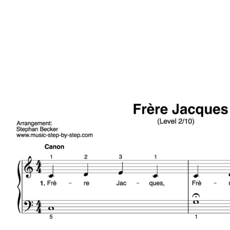 """Frère Jacques"" für Klavier (Level 2/10) 