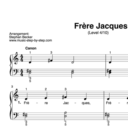 """Frère Jacques"" für Klavier (Level 4/10) 